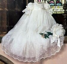 Vintage White Ivory Baby Girls Christening Dress With Bonnet Baby Baptism Gown