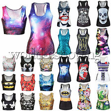 Womens 3D Digital Print Crop Tank Tops Vest Casual Gothic Punk Rock T-Shirts Tee