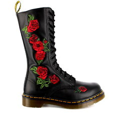 Ladies Dr Martens Vonda Black Leather Military Roses Mid Calf Boots All Sizes