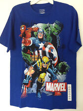 MARVEL COMICS SPIDER-MAN WOLVERINE HULK CAPTAIN AMERICA GRAPHIC TEE T-SHIRT NEW