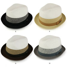 Stylish Mens 3-Tone Paper Straw Fedora with Hat Band (LTC-BT73