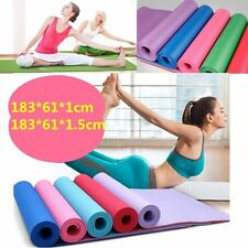 10/15mm YOGA MAT EXERCISE FITNESS AEROBIC GYM PILATES CAMPING NON SLIP THICK UK