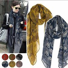 Women Voile Soft Navy Green Red Grey Yellow Black White Paisley Wrap Shawl Scarf