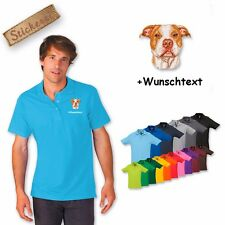 Polo Shirt Cotton Embroidered Dog Pit Bull Terrier + Text of your choice
