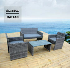 4 Piece Outdoor Wicker Furniture Table and Chair Set Rattan  Lounge Sofa Setting