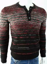 Armani Exchange A|X Mens Ombre Striped Knit Henley Buttoned Sweater NWT $110