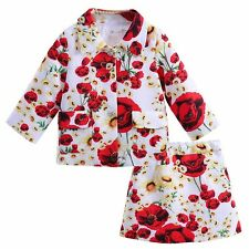 2PCS Kid Baby Girl Flower Coat+Short Skirt Set Party Dress Outfit Floral Clothes