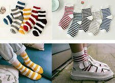 Ladies Casual Cotton Ankle Socks Wide or Thin Stripe College Sports Everyday