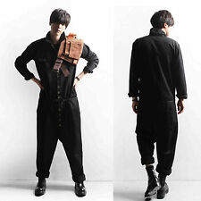 Men Black Button Workwear Coveralls Boiler Suit Pants Trousers Overalls Jumpsuit
