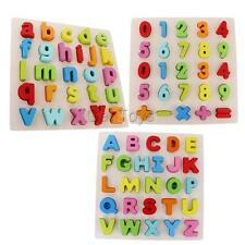 KIDS CHILDRENS NUMBERS OR LETTERS LEARNING SET TOY PRESCHOOL WOODEN PUZZLES TOY