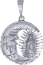 Sterling Silver Virgin Mary and Moon Pendant Necklace Diamond Cut Finish 10 gram
