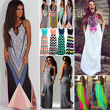 Womens Boho Sleeveless Long Maxi Dresses Party Evening Cocktail Beach Sundress