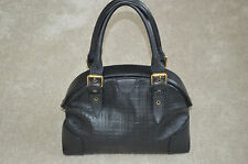Burberry Black Vintage Check Leather Shopper Tote Magnetic Handbag Womens
