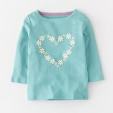 NEW ex Mini Boden Girls Applique Daisy Heart Top Long Sleeved 4-5 7-8 9-10 Years