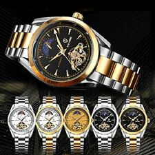 Unisex Moon Phase Automatic Mechanical Watch Stainless Steel Leather Wristwatch