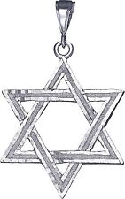 Sterling Silver Jewish Charm Star of David Pendant Necklace 2.4 Inches 7.5 Grams
