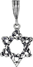 Sterling Silver 12 Tribes of Israel Charm Star of David Pendant Necklace Oxidize
