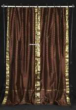 Brown  Tie Top  Sheer Sari Curtain / Drape / Panel  - Pair