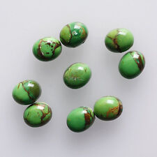 6x4MM Oval Shape, Green Copper Turquoise Calibrated Cabochons AG-213