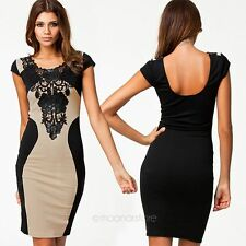 Fashion Women Lace Short Sleeve Slim Bodycon Ladies Cocktail Evening Party Dress