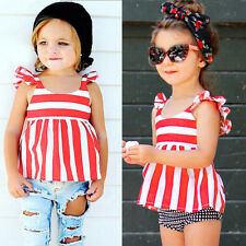 Kid Girl Summer Red Stripped Sleeveless T-shirt Round Neck Shirt Top Vest Blouse