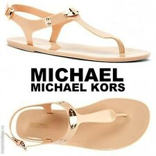 NWB MICHAEL Michael Kors MK Plate Jelly Fashion Sandals Beach Pool Summer Nude -