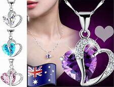 Amethyst Heart Made with Swarovski Crystals Sterling Silver Chain Necklace Gift