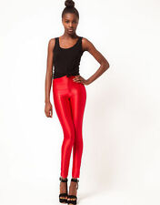 New~American Apparel High Waist Rise Shiny Cherry Classic Red Disco Pant XXS 2XS