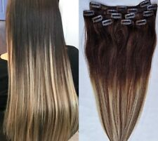 """18"""",20"""" 100% Ombre BALAYAGE Clip in Human Hair Extensions 7Pcs  #T2-6/613"""