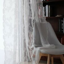 French Country Crochet Lace Cutwork White Net Curtain Tap Panel Floral Damask