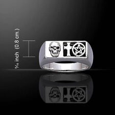 Pirate Skull Cross Pentacle .925 Sterling Silver Ring by Peter Stone
