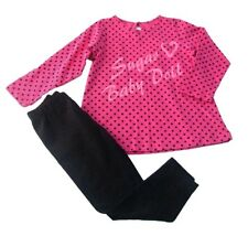 Girls pink top and black leggings outfit