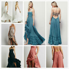 Vintage Hippie Boho Halter Neck Maxi Cocktail Party backless Long Maxi dress US