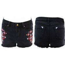 Womens Denim Embroidered Shorts Ladies Black Jeans Hotpants Pants