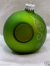 Partylite CHRISTMAS Green ORNAMENT Tealight Holders glass