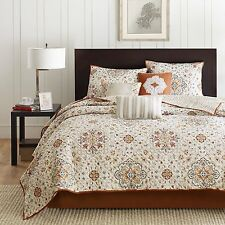 Luxurious **SUMMER SET** 6 Piece Jacquard Quilted Coverlet Set Ivory New