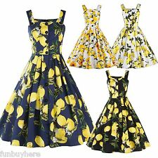 Vintage Retro 50s ROCKABILLY dress Housewife Pin Up Cocktail Dance SWING Dress