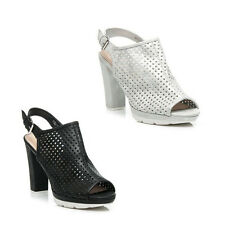WOMENS LADIES PLATFORM CHUNKY SOLE PEEP TOE CUT OUT SANDALS SHOES SIZE 3-8