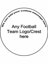 Football Logo crest Personalised Custom Round Edible Cake Topper Wafer Icing