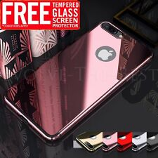 For iPhone 6 6s 7 Plus Hard Cover Luxury Slim Mirror Back Case + Tempered Glass