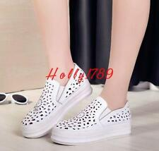 Preppy Womens Summer Platform reeper Hollow out Loafers Casual Slip on Sneakers