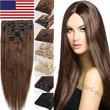 7PCS Real Clip in Remy Human Hair Extensions 70g-120g Straight Full Head US B321