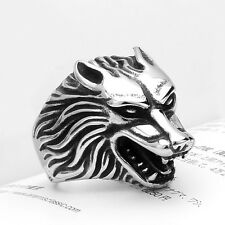 316L Stainless Steel Fashion Silver Men Wolf Head Biker Ring Jewelry Size 7-13