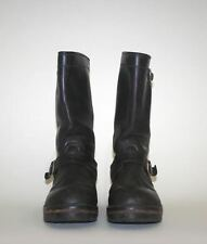 Leather Brown Boots size 40/7 Leather Vest XL Black