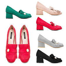 WOMENS LADIES CASUAL OFFICE WORK MID HIGH CHUNKY BLOCK HEEL COURT SHOES SIZE 3-8