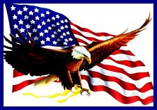 AMERICAN USA FLAG WITH EAGLE BIRD OF PREY T-SHIRT-MENS WOMENS KIDS TOPS S TO 5XL