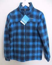 Columbia blue plaid check zip fleece sweater jacket BOYS GIRLS YOUTH LARGE 14/16