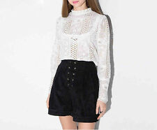 White Lace Long Sleeve Blouse See Through Floral Casual Women Top Shirt