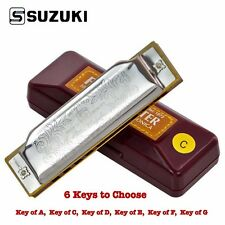 New SUZUKI Folk Harmonica Master 1072 10 Hole Blues Diatonic Key of A C D E F G