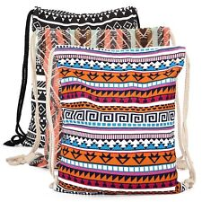 Vintage String Drawstring Backpack Cinch Sack Gym School Sport Canvas Tote Bag